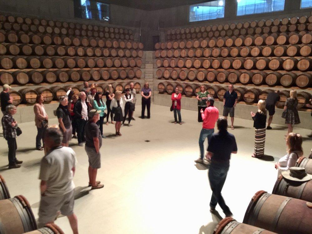 Amphitheater barrel room at Rocca di Frassinello.