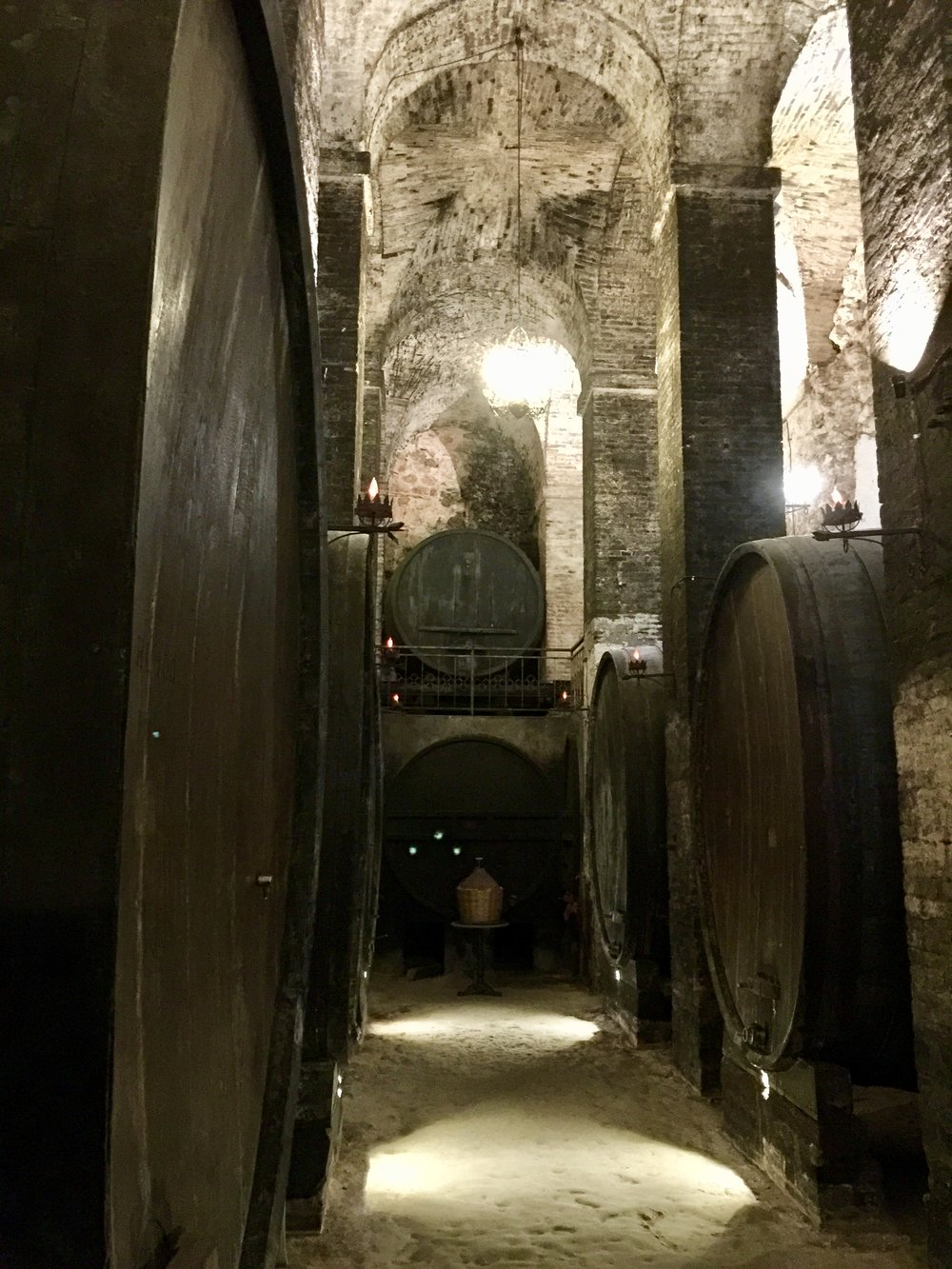 Underground cathedral cellar at De'Ricci winery in Montepulciano.