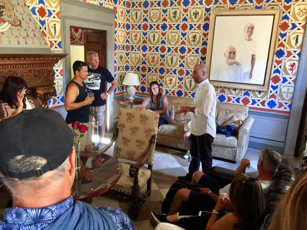 Antonio showing off the castle's meticulously restored parlor.
