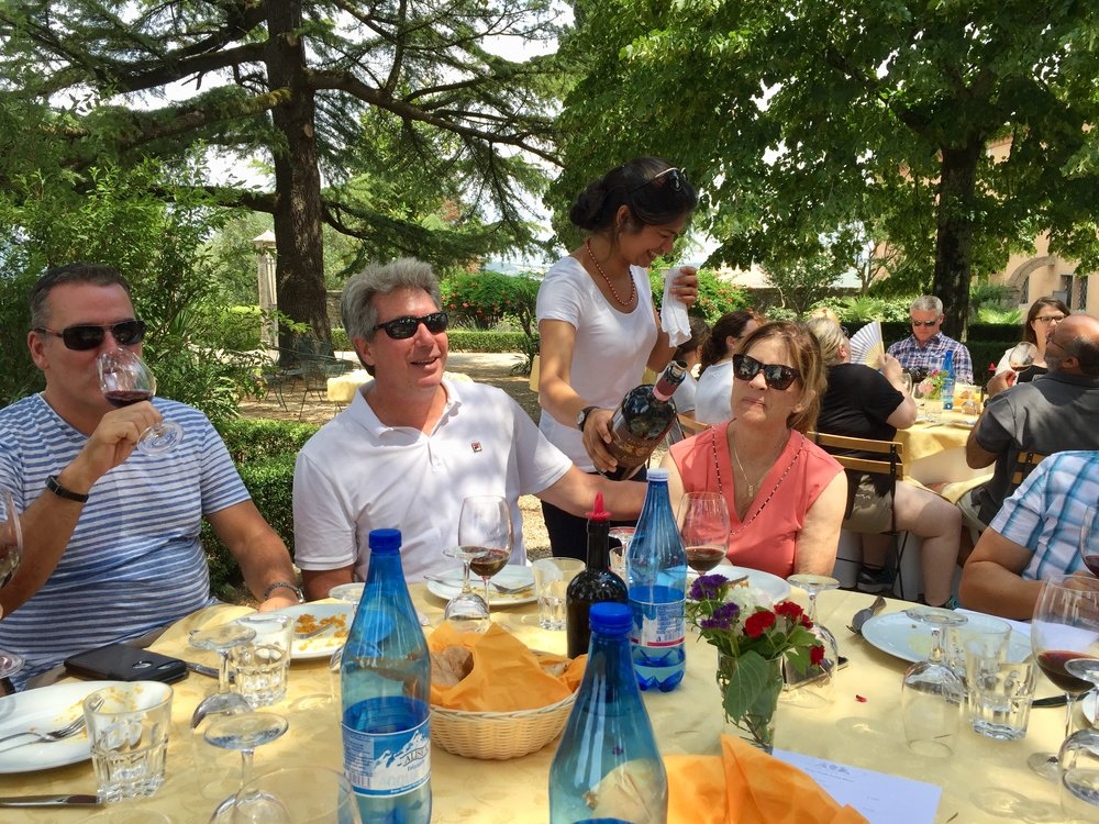 Pouring magnums of 2005 and 2006 Brunello di Montalcino for our outdoor lunch at Silvio Nardi.