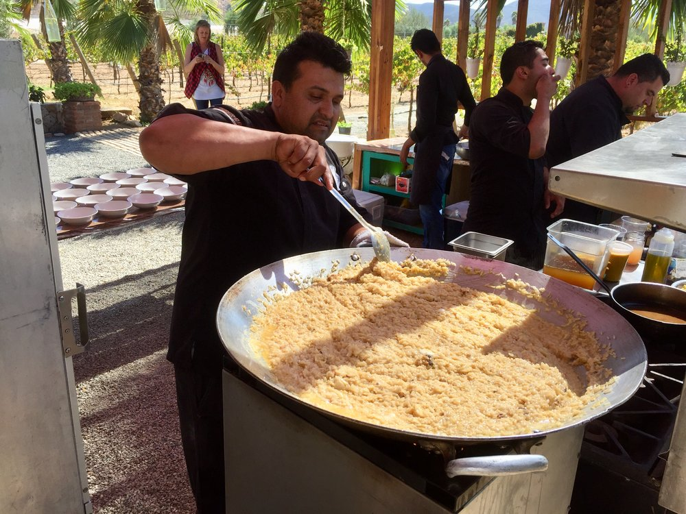 Chef Rafa making rice and shrimp at Lechuza