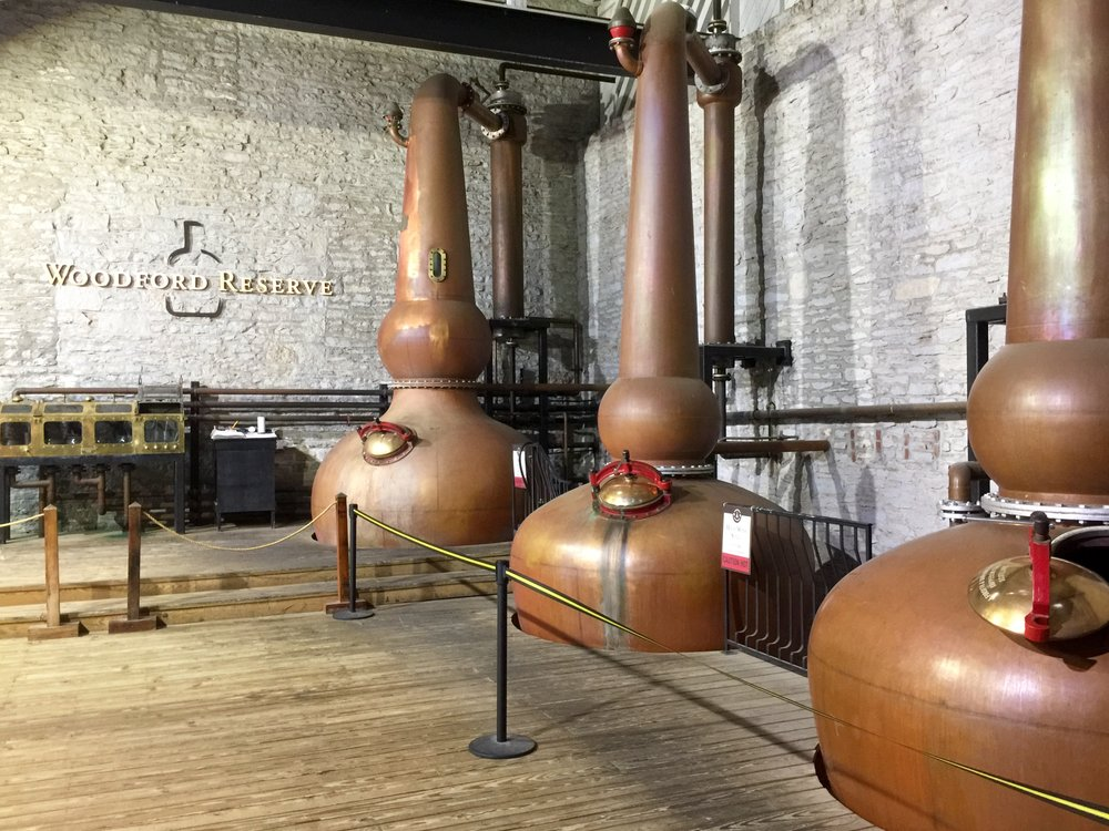 Copper pot stills at Woodford Reserve.