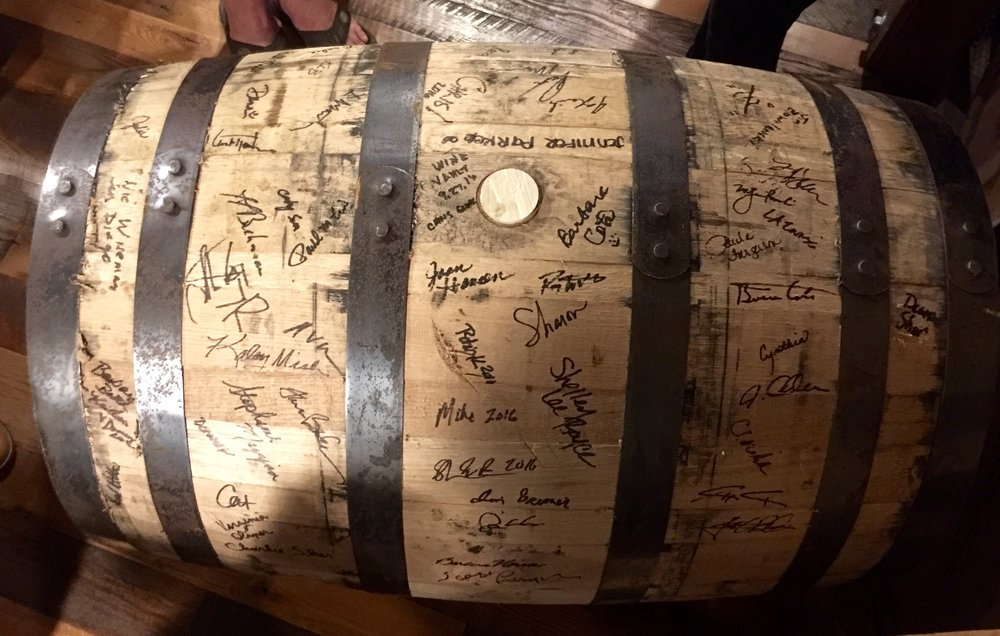 Our signed barrel at Evan Williams Bourbon Experience.