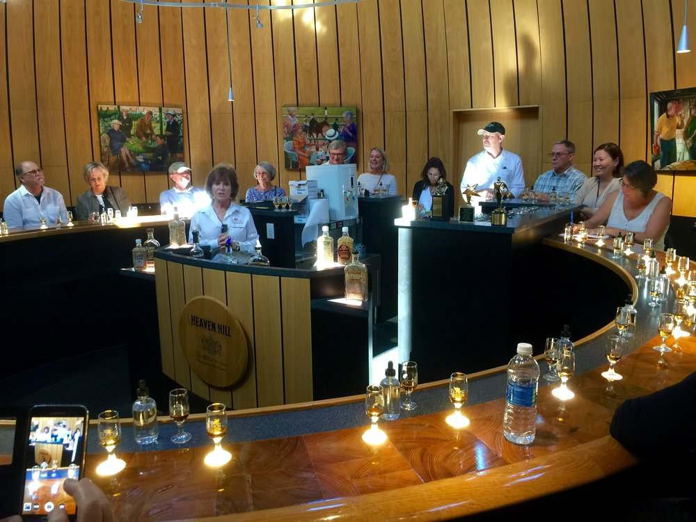 Premium Bourbon tasting in the barrel room bar at Heaven Hill.