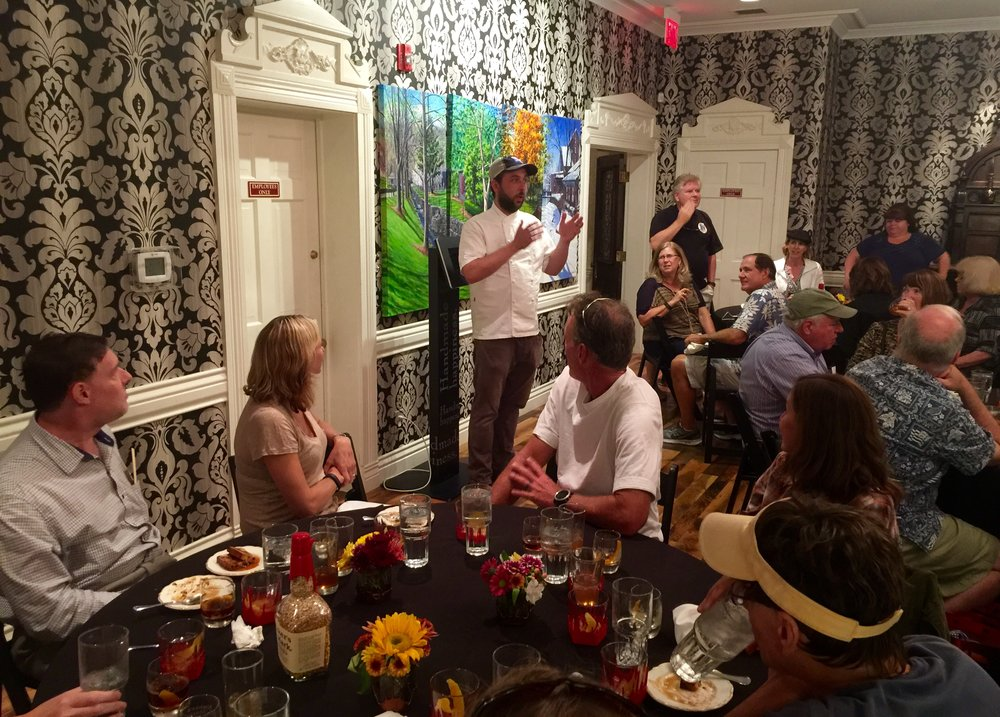 Chef Newman of Harrison-Smith House addressing our group after an amazing finale dinner (and cocktails!) that he catered in the private dining room at Maker's Mark.