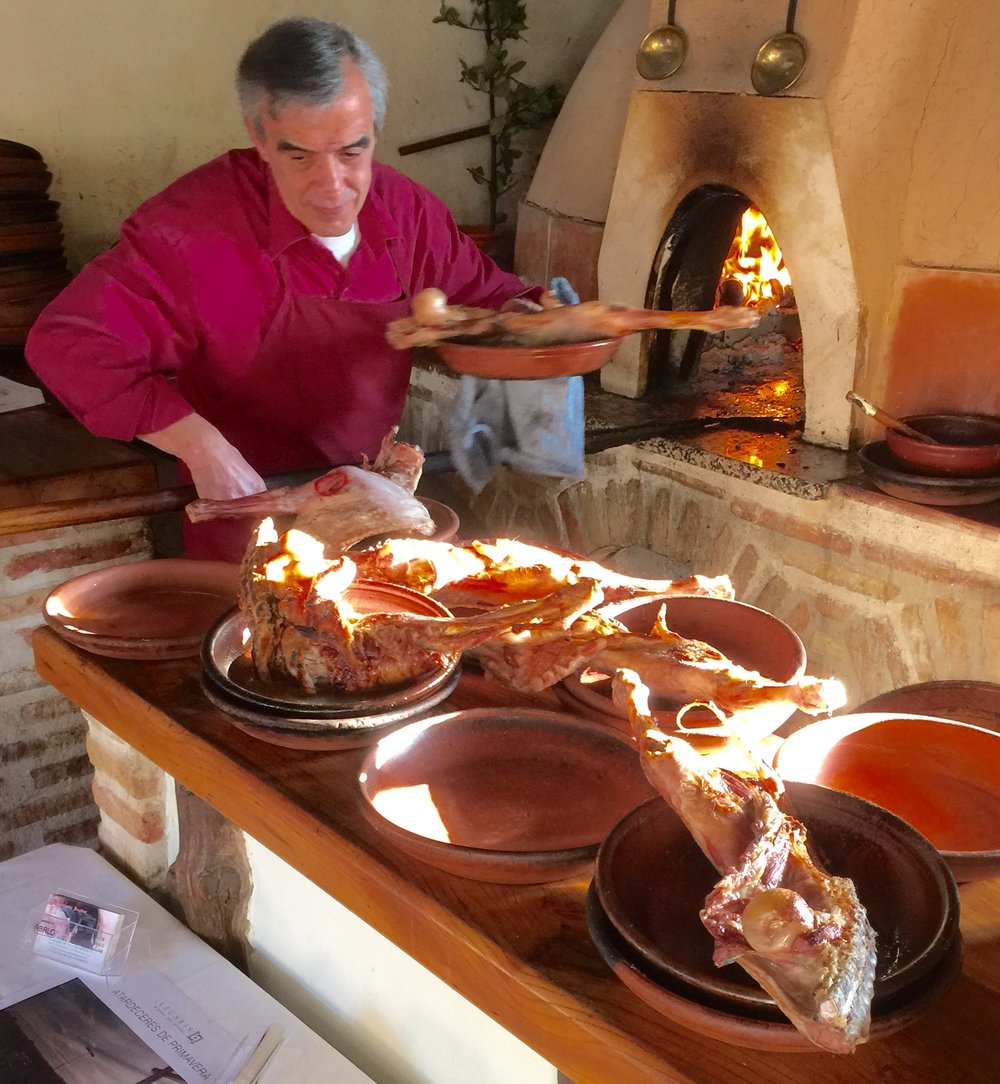 The specialty in Ribera del Duero is lamb.  Here is some coming out of the horno (a giant wood-fired oven) at El Lugar de San Vicente.