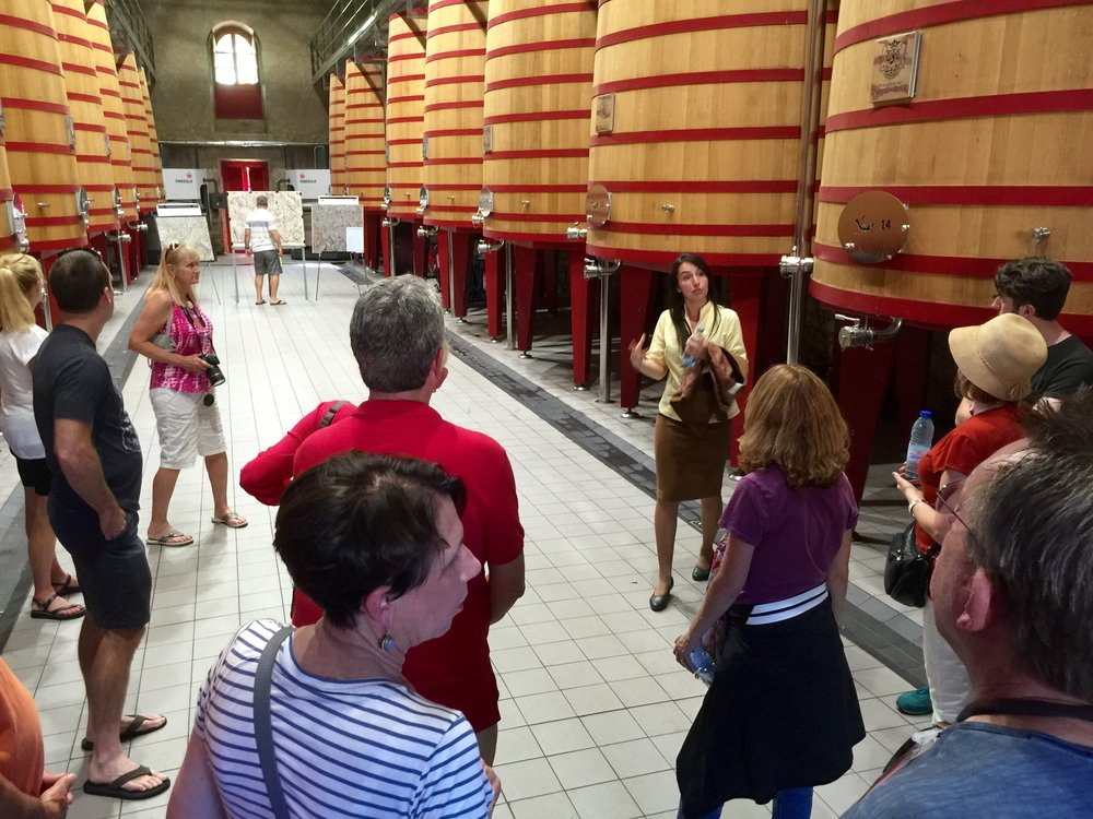 In the beautiful tank room at Marquis de Riscal Winery in Rioja.
