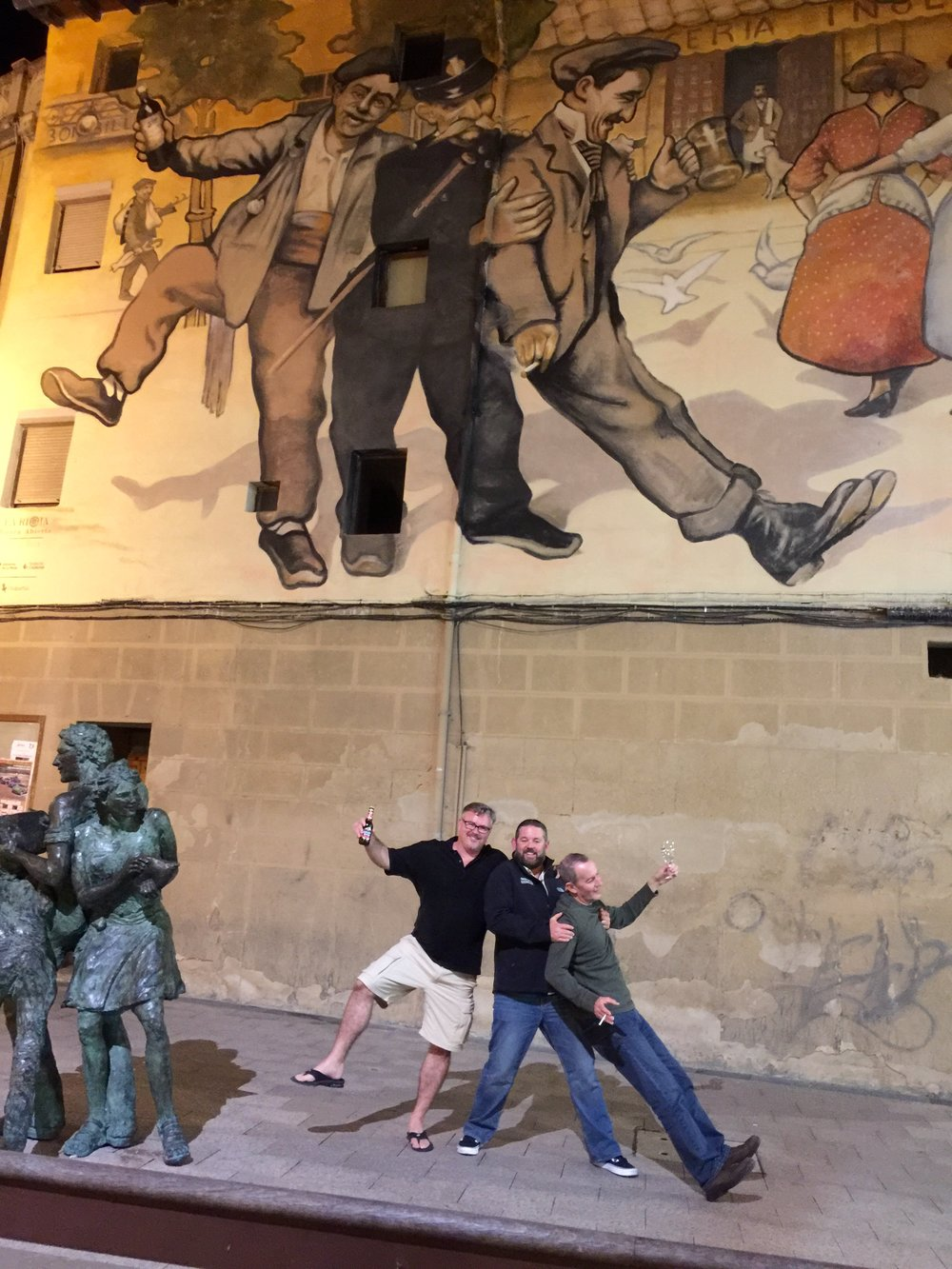 At the entrance to the Herradura in Haro is this famous mural of a cop busting two drunks.