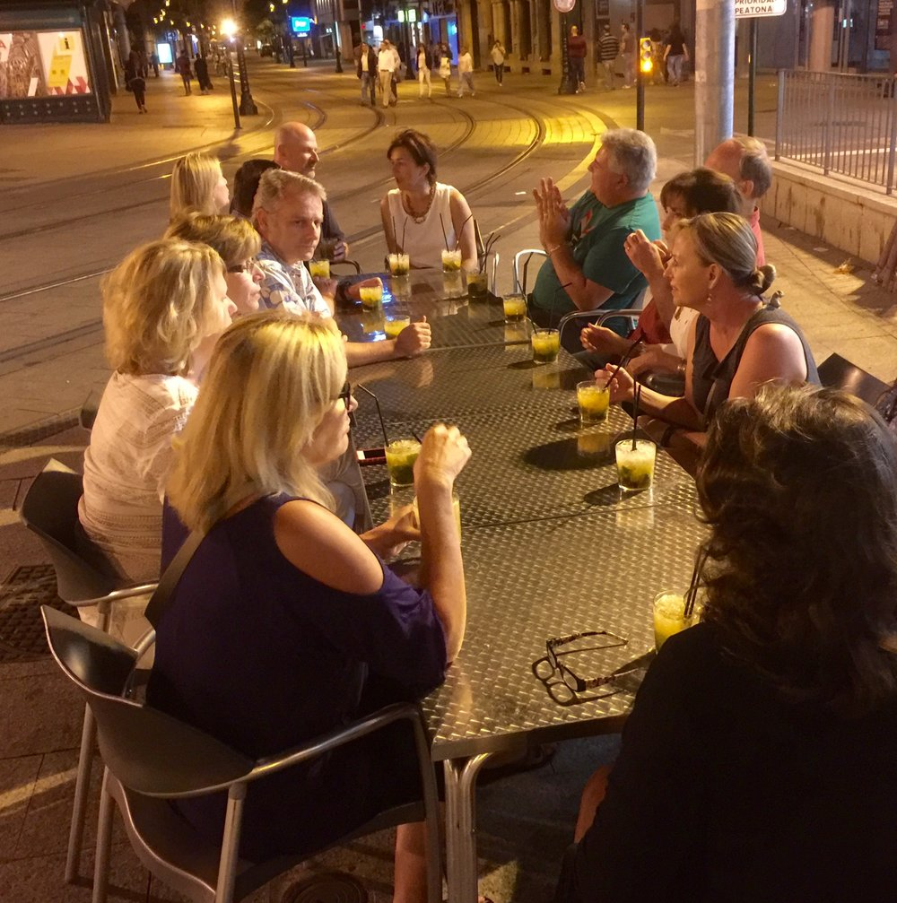 After dinner on our final night in Zaragoza we unwound from our 1,037 km journey with mojitos at midnight at La Lobera de Martin, a favorite sidewalk café in Zaragoza.