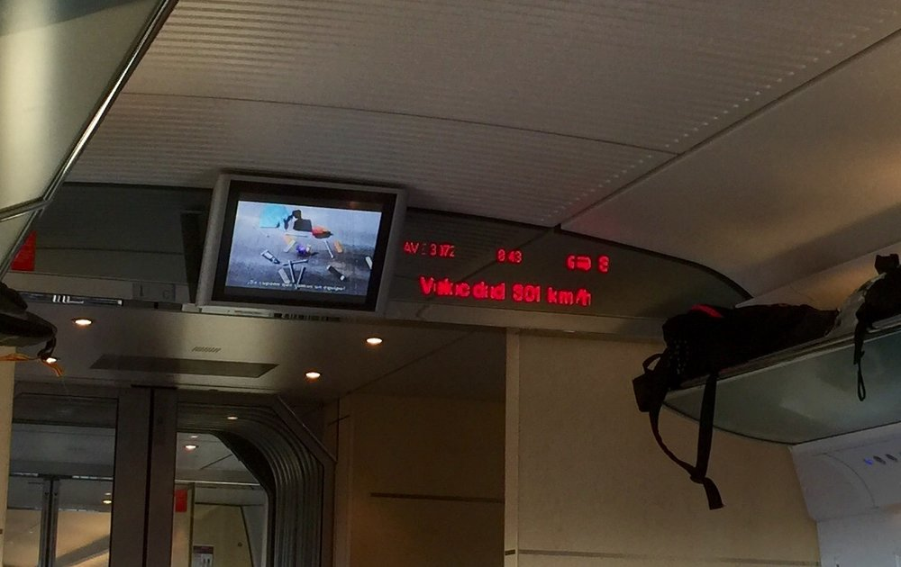On the high speed train from Zaragoza back to Madrid.
