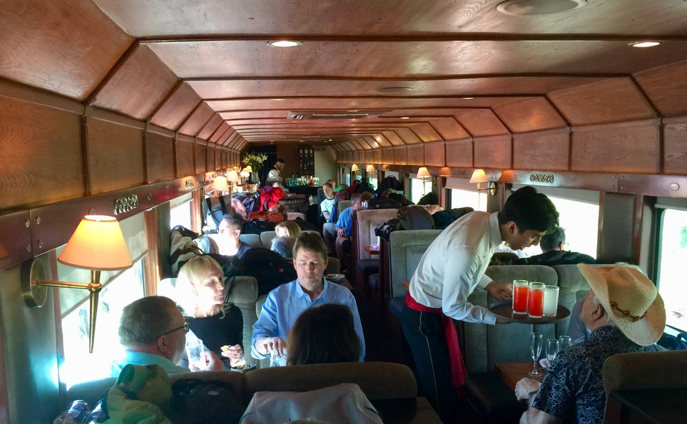 Riding in the vintage Cuervo Express dining car train from Guadalajara to Tequila.