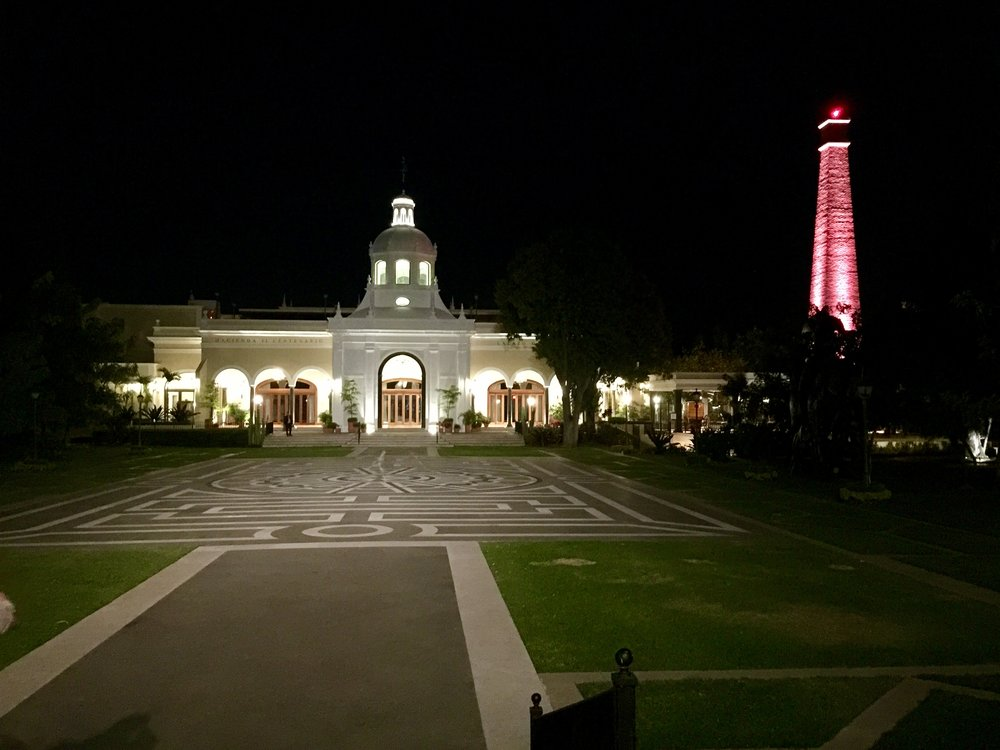 Cuervo's private grounds at night.