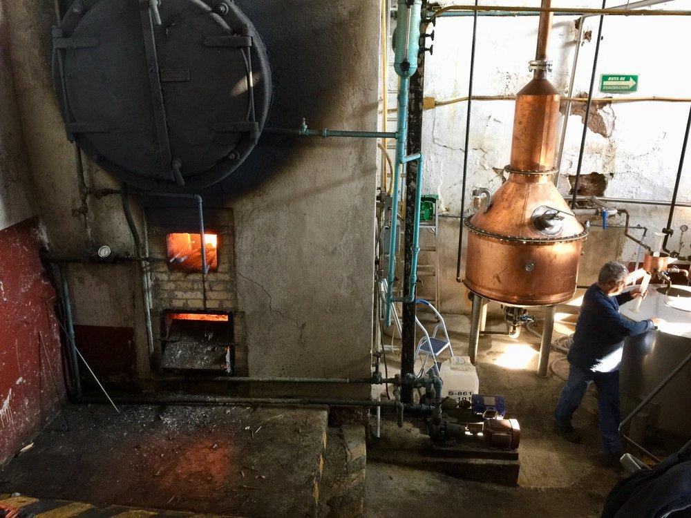 Original boiler and copper still at Fortaleza Distillery.