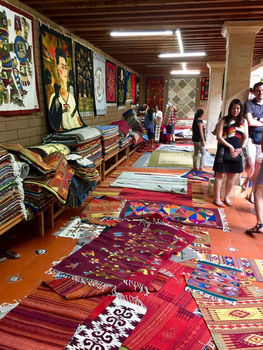 Hand woven rugs at Bulmaro's