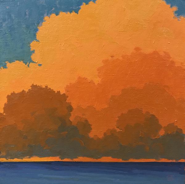 Evening Clouds (Ocean View), 2018, oil on linen, 20 x 20