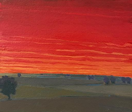 Evening's Reprieve, 2018, oil on paper, 5 x 6