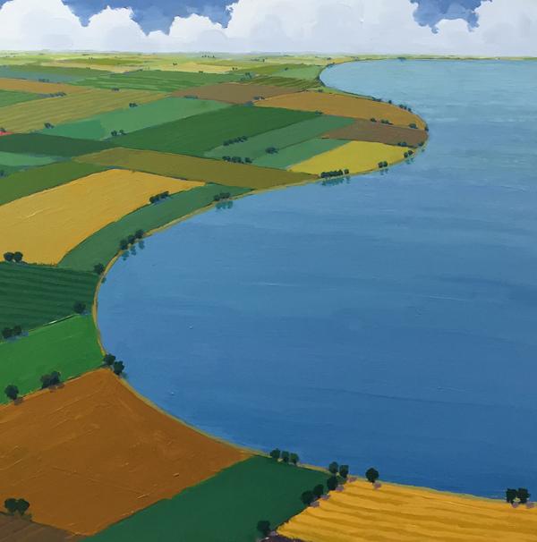 Lakeside Farms-Summer, 2017, oil on panel, 18 x 18
