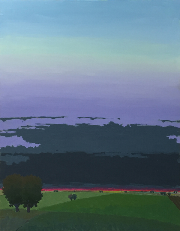 Dark Cloud Evening, 2016, oil on panel, 38 x 28