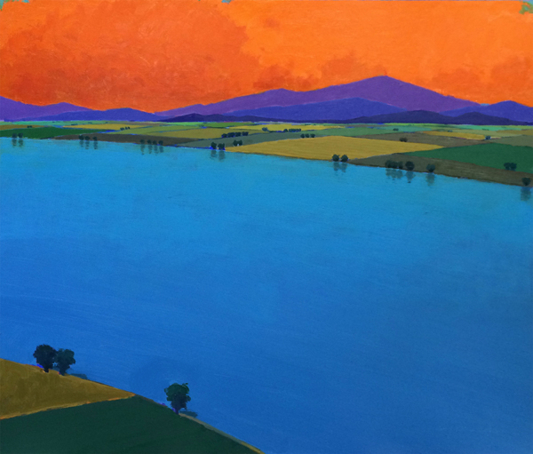 Wide River Evening, 2014, oil on panel, 34 x 39