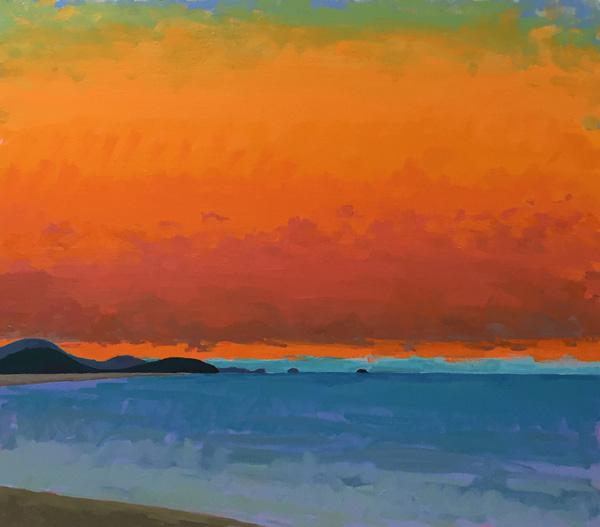 Bay(set), 2016, oil on canvas, 34 x 36