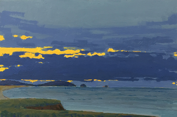 Breaking Sky - Evening, 2016, oil on panel, 10 x 16