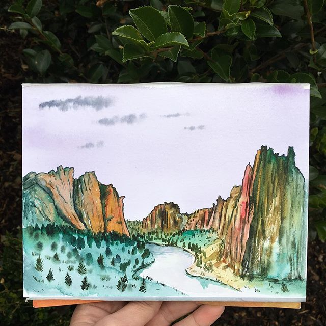 I am really loving this inspiring landscape 🌵What are your favorite places in the desert? . . . . . . . . . . . . . #art #watercolor #watercolors #watercolour #watercolours #watercolourpainting #watercolorstudy #watercolorsketch #watercolorpainting #pleinair #pleinairpainting #landscape #landscapepainting #painting #holbein #windsornewton #artgram #artistsoninstagram #instaart #instaartist #artwork #artistsofinstagram #watercolorart  #oregon #exploreoregon #qorwatercolors #danielsmith #danielsmithwatercolors