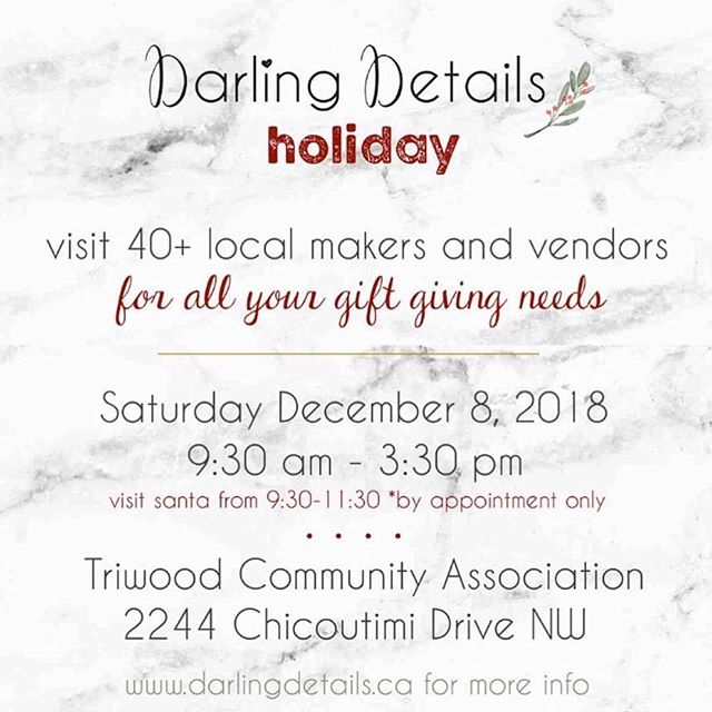Happy Holidays!! 🎄 . . .  So excited to be part of the Darling Details Holiday market this weekend!! Stop by and shop local vendors and cross off all your gift giving needs!! 🎁 . . . . . #holidays #tidietots #darlingdetailsmarket #yyc #yycmoms #calgary #localbusinessyyc