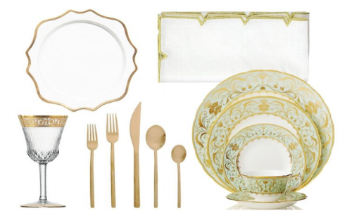 "Royal Crown Derby ""Darley Abbey"" collection, $65-$670; Anna Weatherley ""Antique White"" gold-rimmed charger, $140; Mepra gold flatware, $153/1 5-piece service set, Saint-Louis Crystal ""Stella Collection"" glassware, $185-$915; Kim Seybert ""Divot"" napkins, $103/set of 4 [more than $4,000 to purchase service for 8]. Via HarpersBazaar.com"
