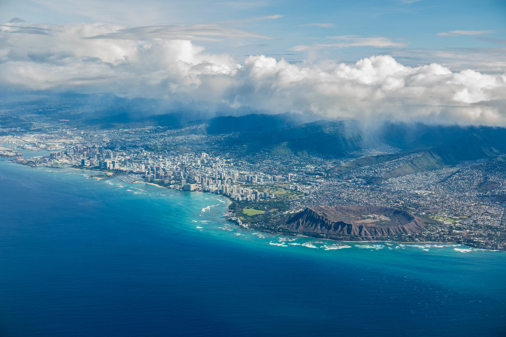 The Honolulu skyline captured from my window seat on Hawaiian Airlines on a flight returning from Los Angeles.