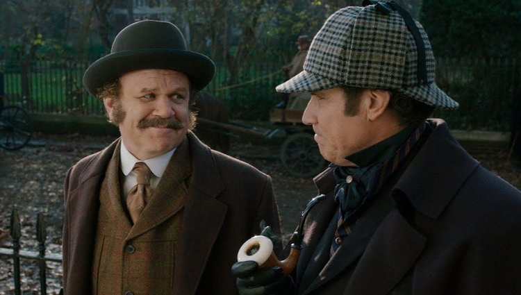 Sherlock Holmes and Dr. Watson working on solving EOS Treasure Hunt clues