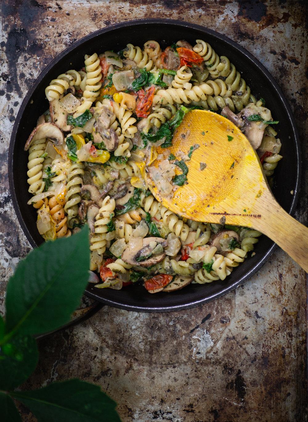 Creamy Mushroom Tomato Pasta   Plant-Based Vegan