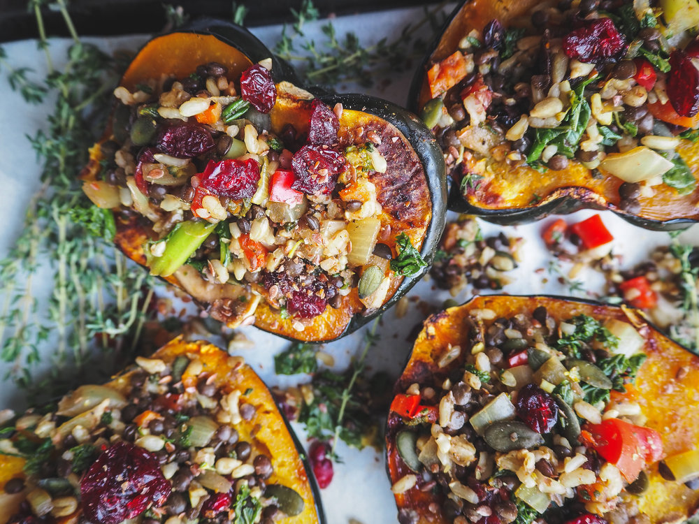 Stuffed Acorn Squash | Plant-Based Vegan Dinner or Lunch Recipe, Oil-Free  Photo by Elena Hollenhorst. All Rights Reserved.