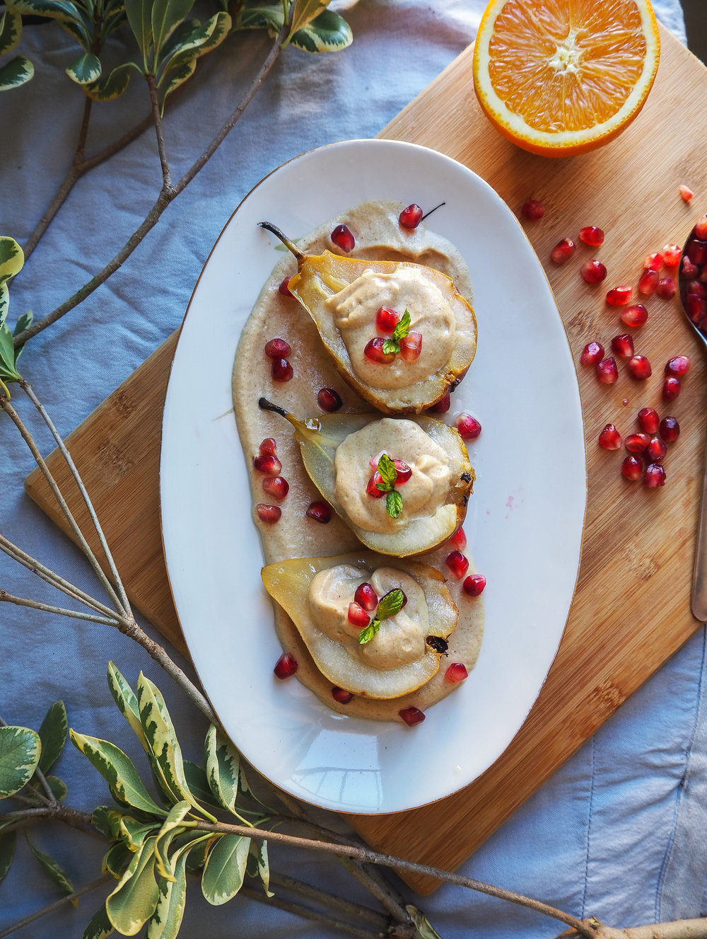 Roasted Pear with Ginger Orange Cashew Cream | Healthy Plant-Based Vegan Dessert, Oil-Free  Photo by Elena Hollenhorst