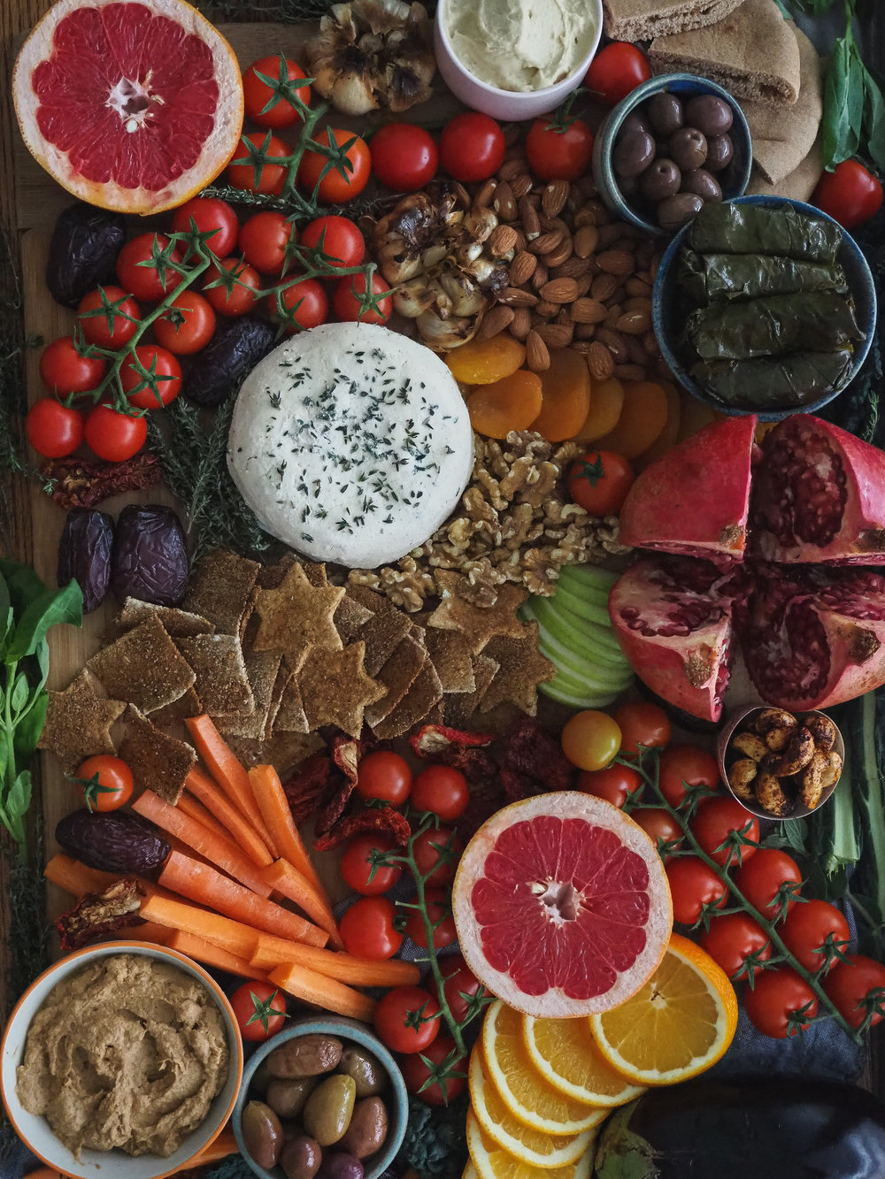 Vegan Appetizer Party Platter / Snack Board Spread   Plant-Based, Homemade  All Rights Reserved © Elena Hollenhorst
