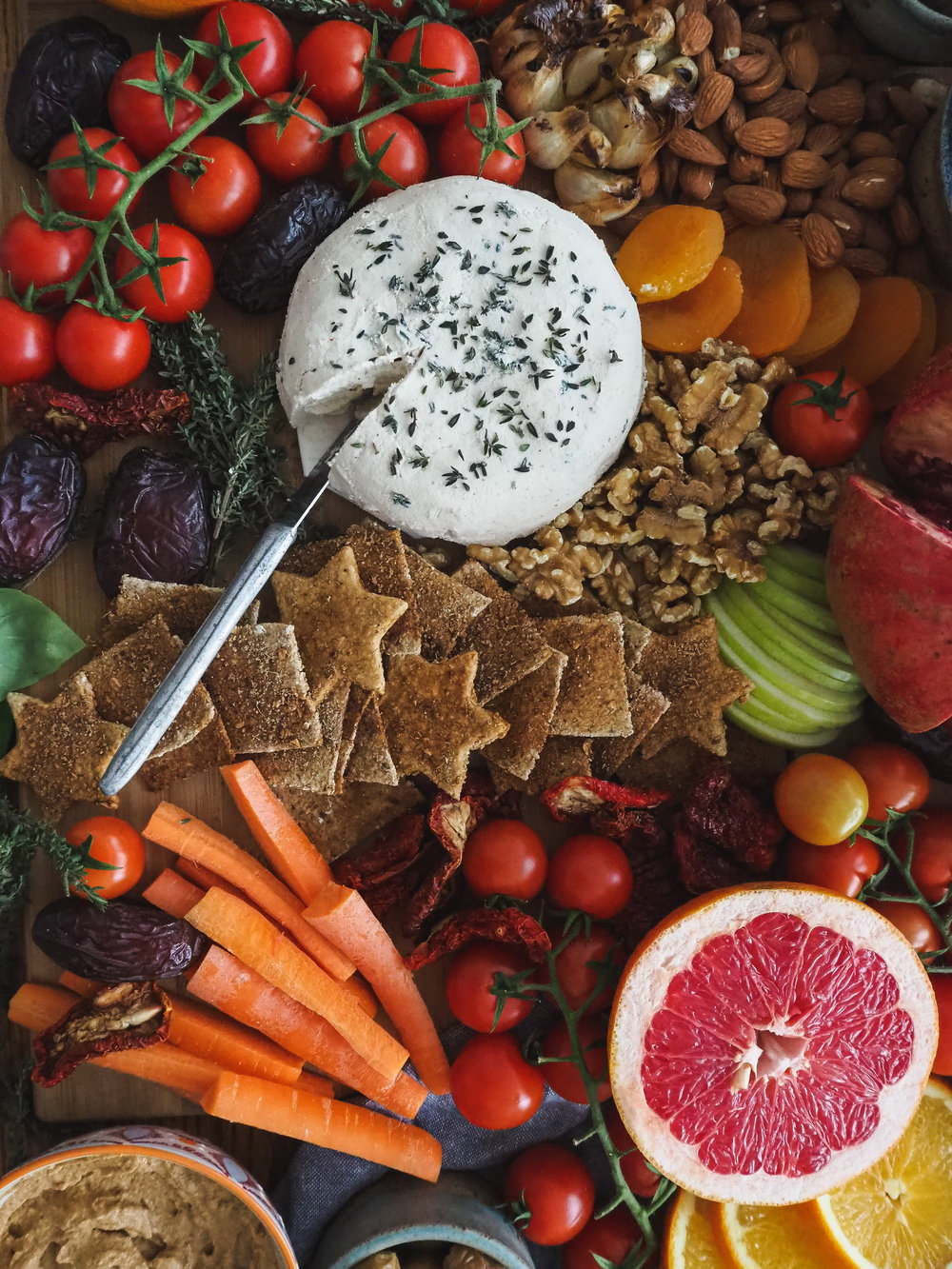 Vegan Appetizer Party Platter / Snack Board Spread   Plant-Based, Homemade  All Rights Reserved © Elly Hollenhorst