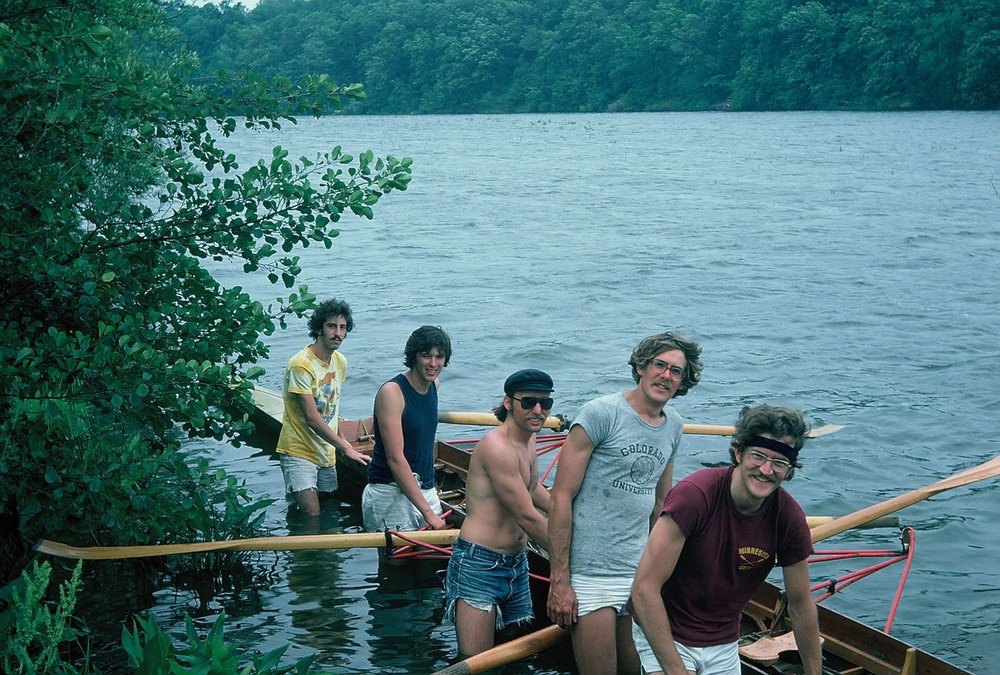 The club's first launch in Argo Pond. Left to right: Mike Weisman, George Lawrence, Brian Cook, Mark Doman, Bob Verbrugge. June 15, 1976.
