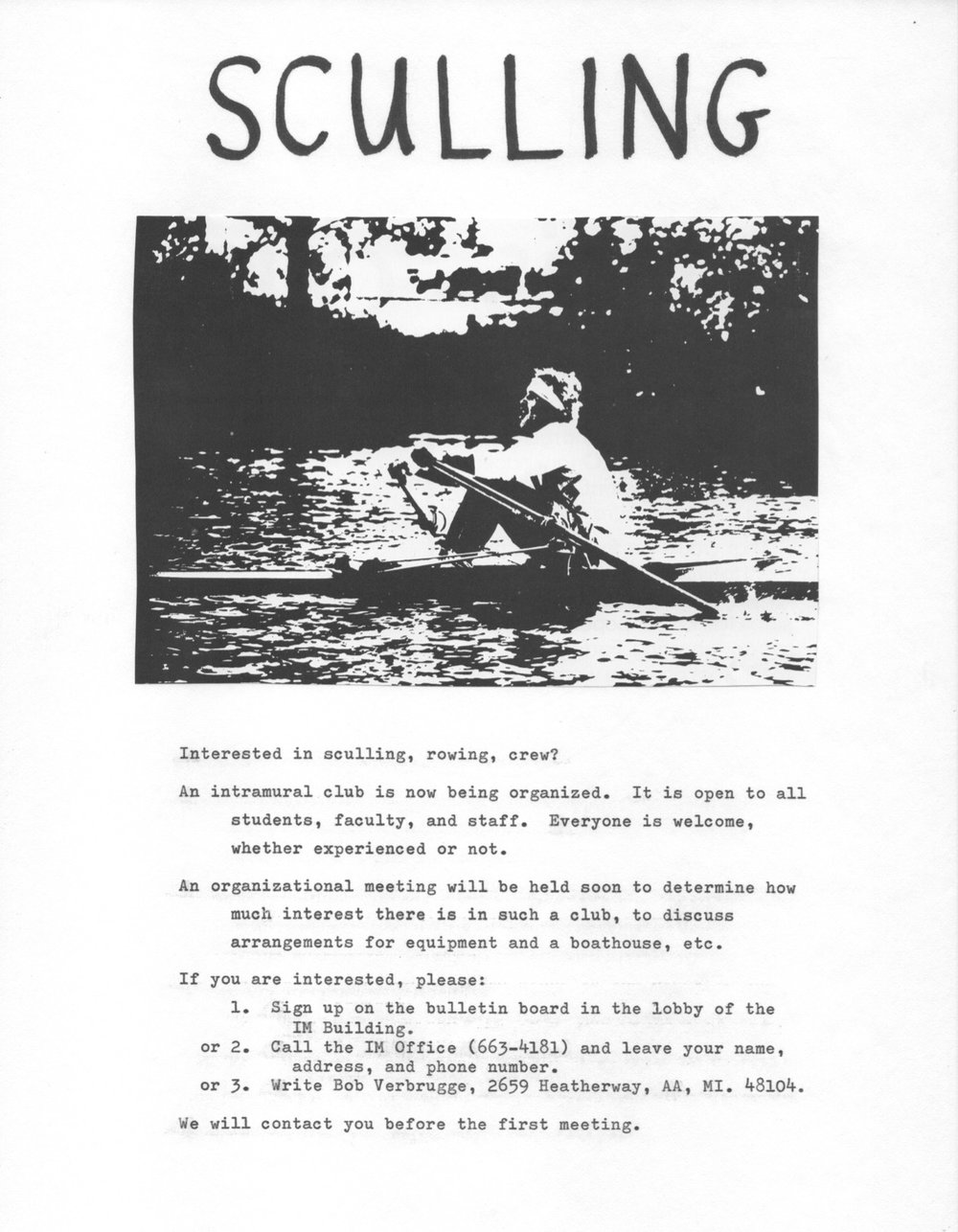 Flyer about the rowing club, 1976.