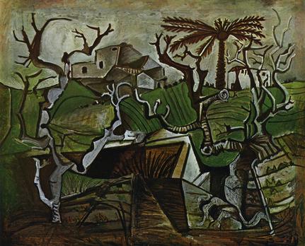 Pablo Picasso, Paysage d'Hiver, 1950. Huile sur contreplaqué. 103 x 126 cm. Collection particulière. © Succession Picasso 2018