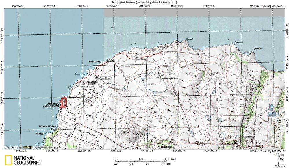 Mo'okini Heiau Map