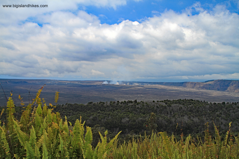 The view of Halema'uma'u erupting from the Byron Ledge Trail