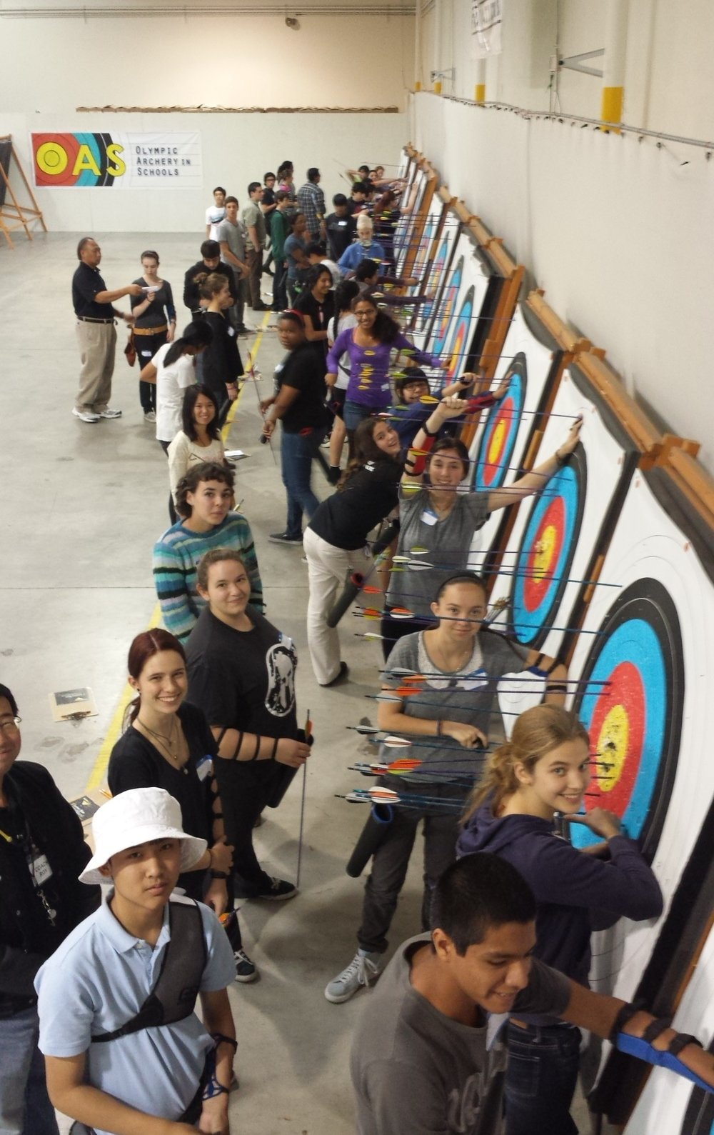 Fifty-five archers and coaches met at the Easton Van Nuys Archery Center for a day of learning, practice, and competition.