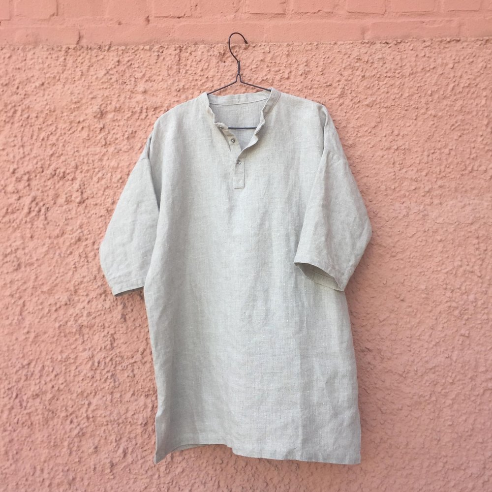 Half Button Down Stand Collar Easy Piece Shirt Prototype Bybaba 2018 a.jpg