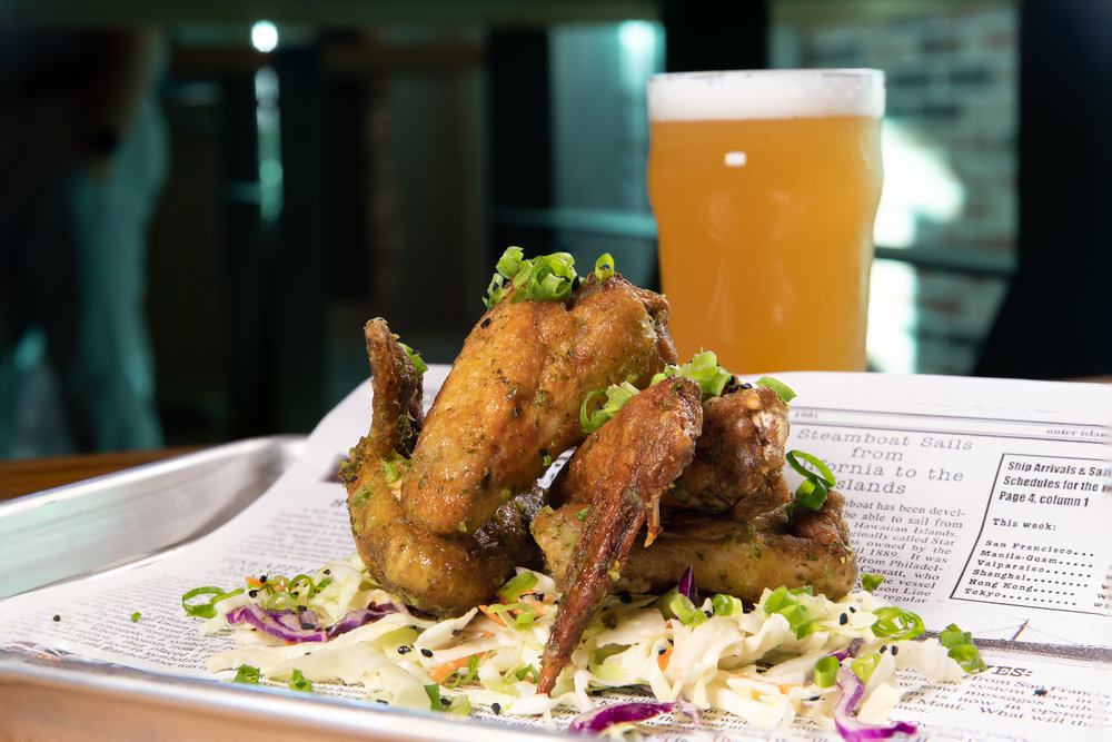 Chimichurri wings - Marinated chicken with chimichurri sauce & coleslaw - $13