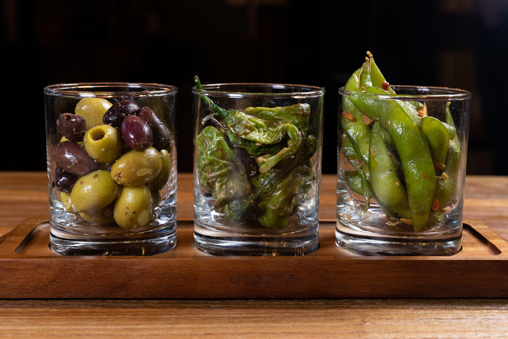 OLIVE's THREESOME - Olives, shishito peppers, edamame - $8