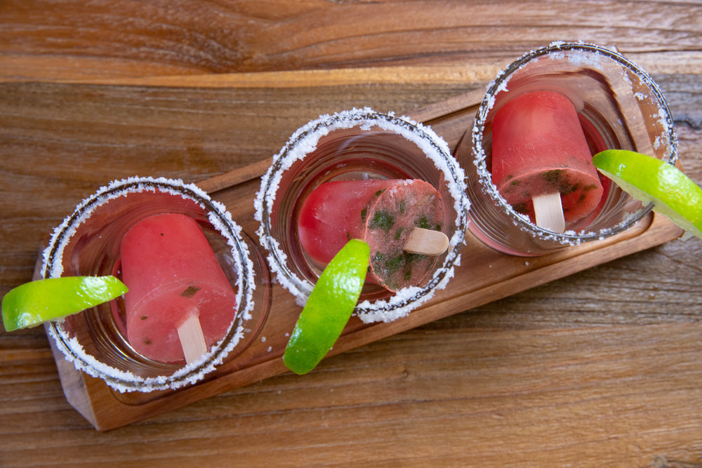 SEASONAL FRUIT tequila pops - Fresh-pressed seasonal fruit, basil, & El Jimador tequila - $9