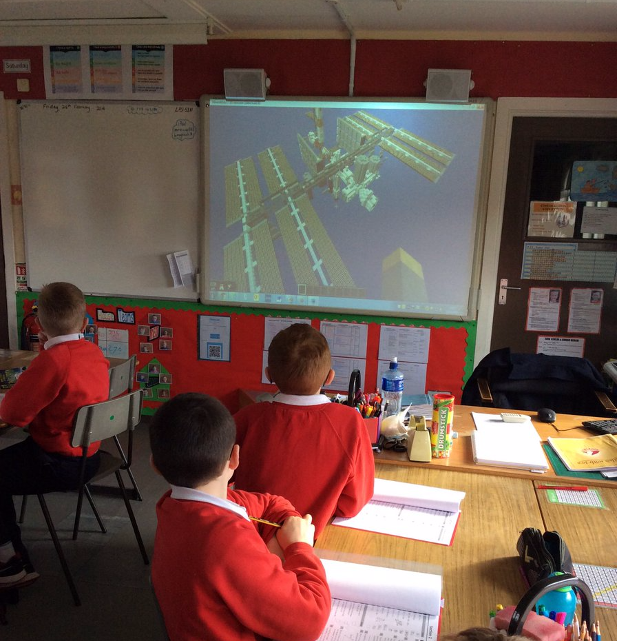 Our Minecraft International Space Station map (Built for UK Space Agency in conjunction with CultureTech) being shown to a classroom.