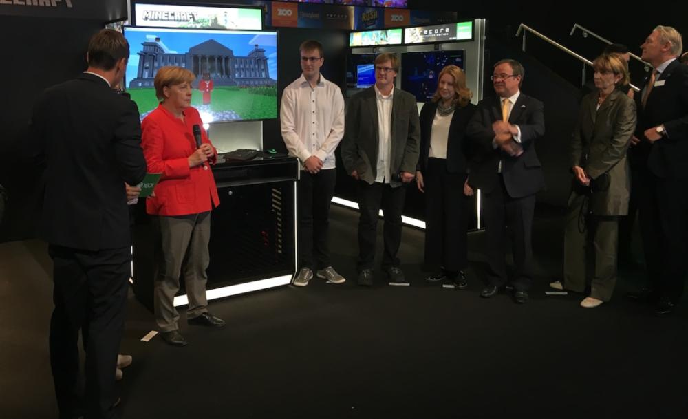 Angela Merkel visits the Minecraft booth at Gamescom 2017