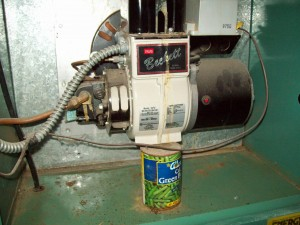 Canned beans supporting oil burner found a home inspection