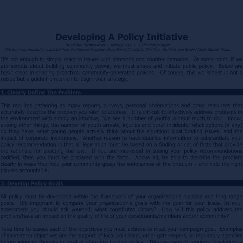 Developing a Policy Initiative -