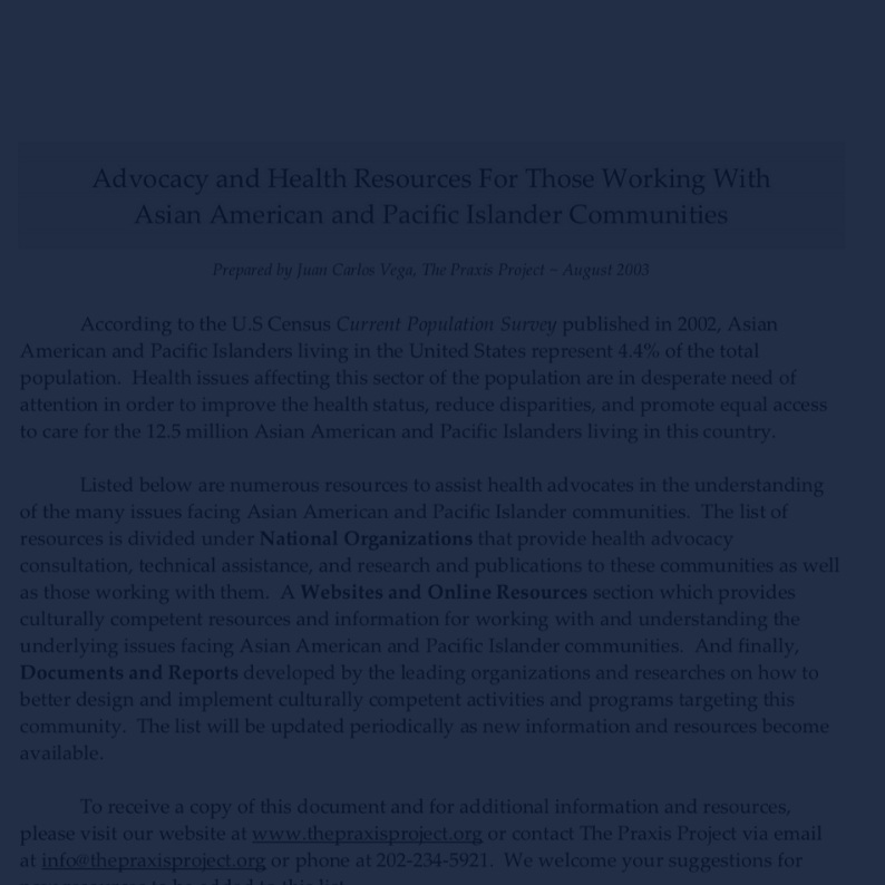 Advocacy & Health Resources for API -